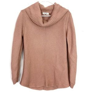 Calvin Klein Rose Gold Ribbed CowlNeck Sweater M